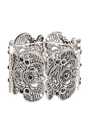 www.sayila.nl - Metalen armband met kant-look, rekbaar 19cm