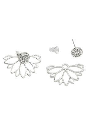 www.sayila.com - Metal ear jackets with strass flower 24x17mm
