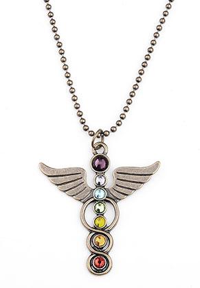 www.sayila.com - Necklace with Rainbow Chakra angel 80cm
