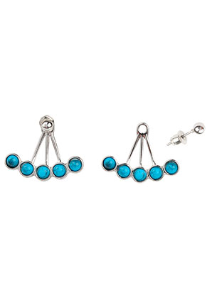 www.sayila.com - Metal ear jackets with natural stone Turquoise Howlite 25x21mm