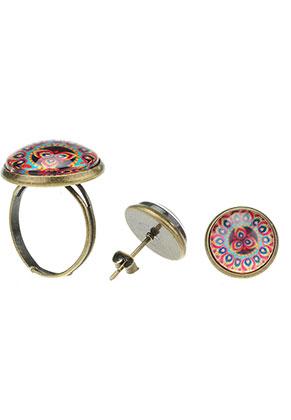 www.sayila.be - Set van oorstekers en ring met mandala print