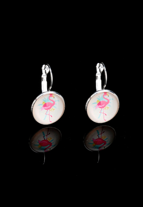 www.sayila.com - Metal snap earring with flamingo print 30x18mm