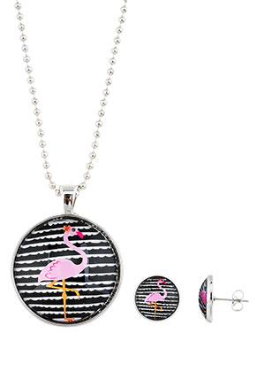 www.sayila.com - Set of necklace and ear studs with flamingo print
