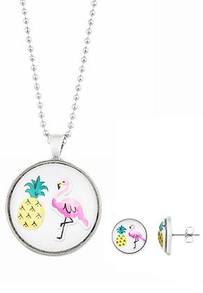 www.sayila.nl - Set van halsketting en oorstekers met flamingo print