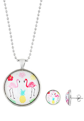 www.sayila.com - Set of necklace and ear studs with flamingo print