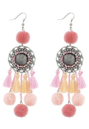www.sayila-perles.be - Boucles d'oreille avec pompons 11,5x3cm