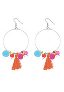 www.sayila.com - Earrings with tassels and pompoms 90x38mm - J05442