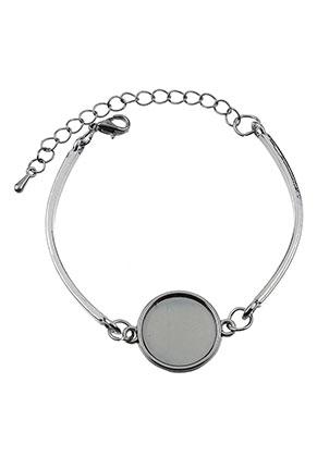 www.sayila-perlen.de - Metall Armband mit Fassungen für 16mm Kleibstein