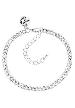 www.sayila.com - Metal bracelet/anklet with charm heart 19-25x0,45cm