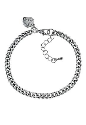 www.sayila-perlen.de - Metal Armband/Fußkettchen mit Anhänger Herzchen 19-25x0,45cm