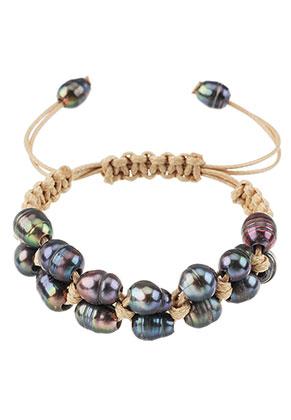 www.sayila-perlen.de - Armband mit Wachsschnur und Süsswasserperlen 15-24cm
