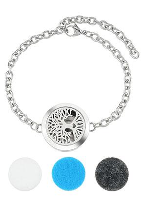 www.sayila.com - Stainless steel perfume locket bracelet set DQ 17-23cm