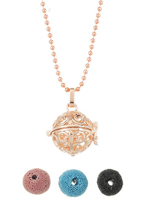 www.sayila.com - Brass perfume Prayer Box necklace set round 80cm