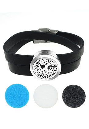 www.sayila.com - Imitation leather perfume locket bracelet set DQ 19cm