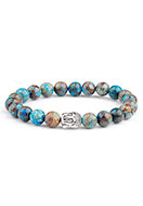 www.sayila.com - Natural stone bracelet Blue Stripe Jasper with Buddha 17cm - J05705
