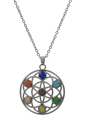 www.sayila.es - Collar con Rainbow Chakra flor de la vida 45-51cm