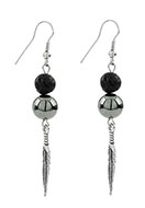 www.sayila.co.uk - Natural stone earrings lava rock/Pelelith feather - J05713