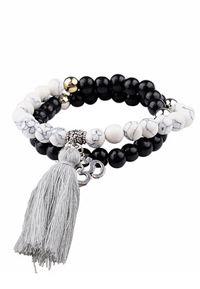 www.sayila.com - Bracelet with natural stone and tassel 18cm