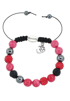 www.sayila.com - Natural stone bracelet with strass beads 17-22cm