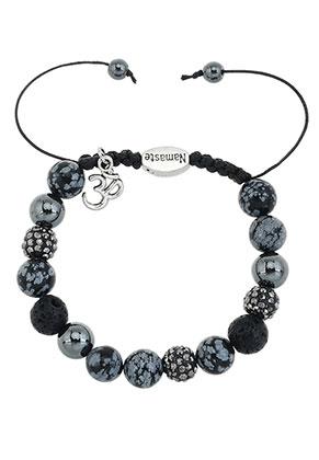 www.sayila.nl - Natuursteen armband met strass kralen 17-22cm