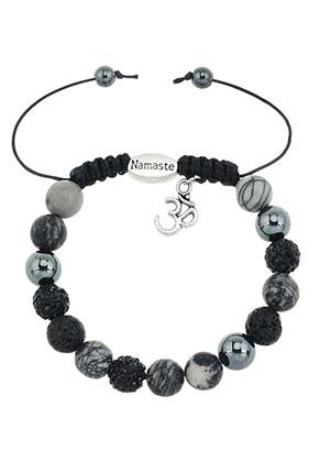 www.sayila-perlen.de - Naturstein Armband mit Strass Perlen 17-22cm