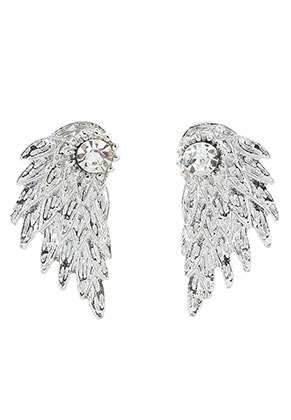 www.sayila.nl - Metalen oorstekers ear jacket met strass vleugel 30x15mm