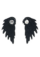 www.sayila.nl - Metalen oorstekers ear jacket met strass vleugel 30x15mm - J05761