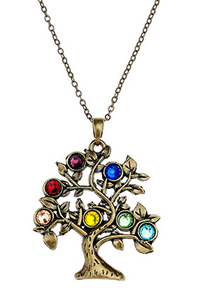 www.sayila.com - Necklace with Rainbow Chakra tree 45-50cm