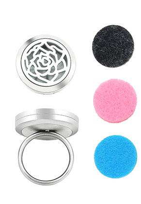 www.sayila.be - Roestvrijstalen parfum medaillon ring set DQ Ø 18mm