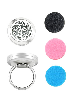 www.sayila.be - Roestvrijstalen parfum medaillon ring set DQ Ø 17mm