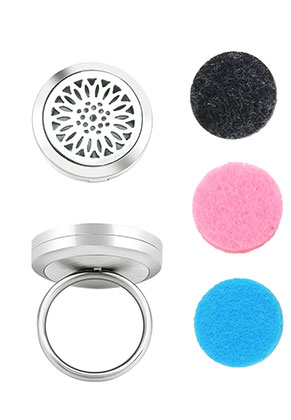 www.sayila.be - Roestvrijstalen parfum medaillon ring set DQ Ø 16,5mm
