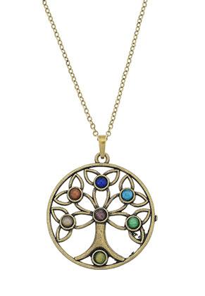 www.sayila.com - Necklace with Rainbow Chakra tree 45-50cm
