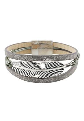 www.sayila.nl - Imitatieleren armband met veer 19cm