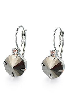 www.sayila.nl - Brass klap oorbellen met strass 28x12mm