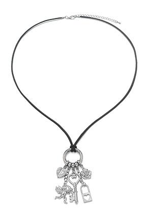 www.sayila-perlen.de - Kunst Wildleder EasyClip Halskette mit Anhänger Liebe 60cm