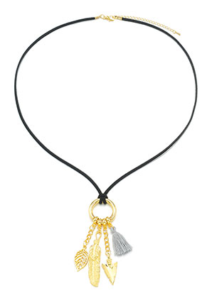 www.sayila.nl - Kunstsuede EasyClip halsketting met hangers natuur 60-65cm