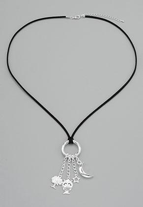 www.sayila.com - Imitation suede EasyClip necklace with pendants night 60-65cm