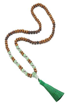 www.sayila-perlen.de - Mala Halskette mit Quaste (108 Perlen) 78cm