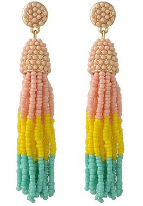 www.sayila.com - Ear studs with tassel of seed beads 9x2cm
