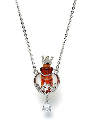 www.sayila.fr - Collier avec bouteille en verre et boîte-cadeau 55cm