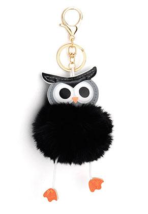 www.sayila-perles.be - Porte-clés avec boule de peluche hibou