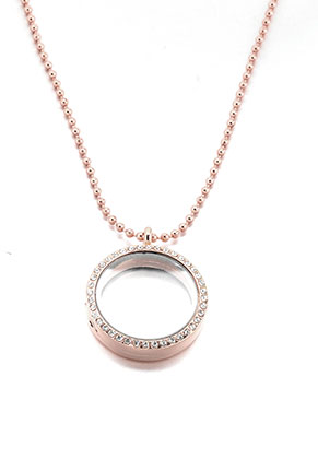 www.sayila.es - Collar con Floating Charm Locket redondo con strass 80x3cm
