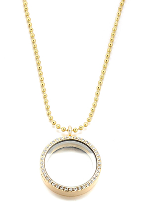 www.sayila.fr - Collier avec Floating Charm Locket ronde avec strass 80x3cm