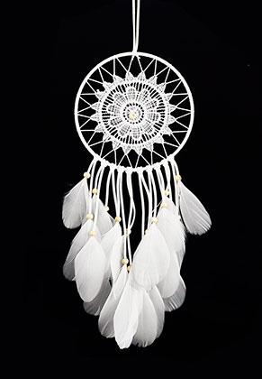 www.sayila.be - Hanger dromenvanger rond met veren 50x15cm