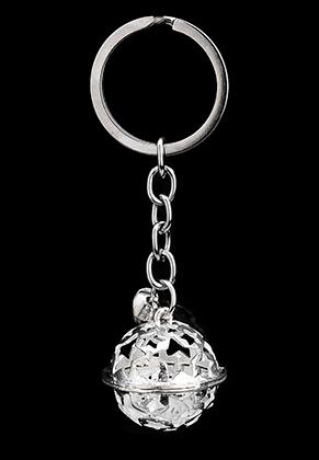 www.sayila.be - Sleutelhanger bol met strass binnenin en belletje 9x3cm