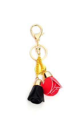 www.sayila-perles.be - Porte-clés avec roses en cuir artificiel 15x6cm