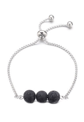 www.sayila.com - Stainless steel bracelet with natural stone lava rock/Pelelith