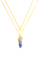 www.sayila.com - Layered necklace with natural stone pendant Sodalite 45-50cm - J06990