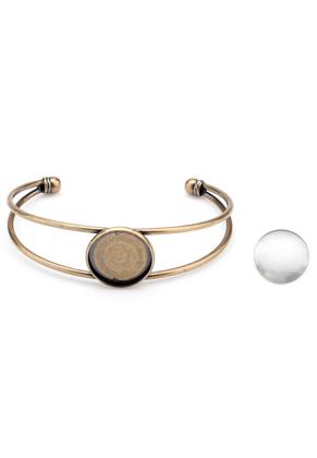 www.sayila.nl - Metalen cuff armband met kastje en 20mm cabochon