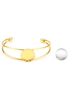 www.sayila.be - Metalen cuff armband met kastje en 20mm cabochon